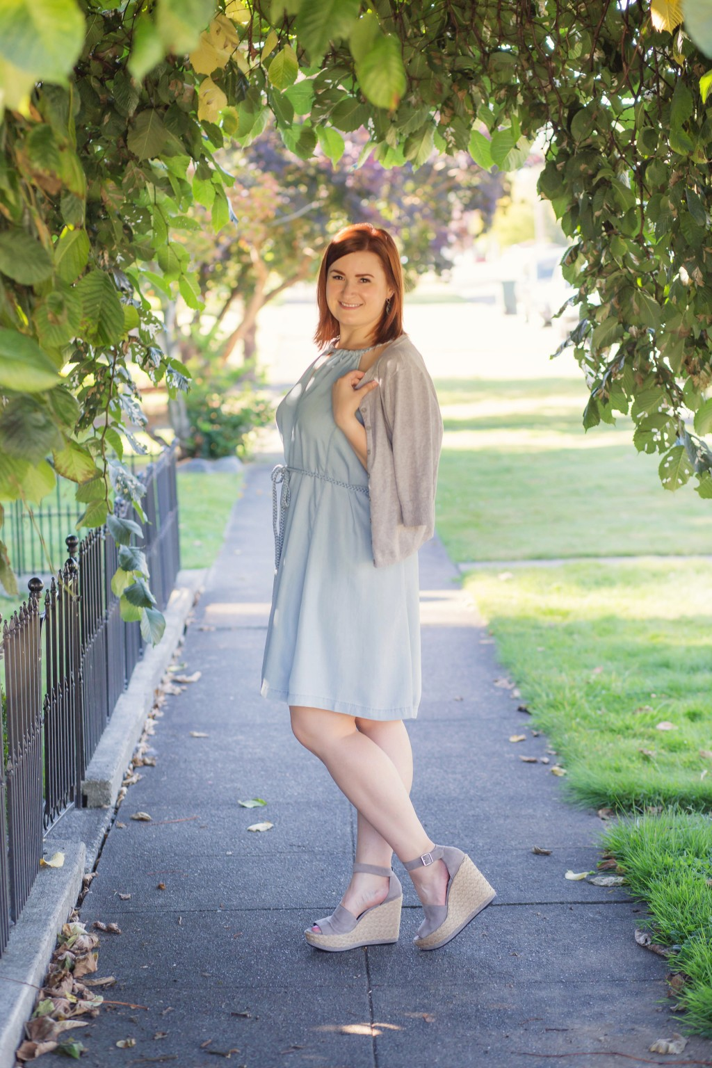 2 - light blue chambray dress with gray wedges and sweater