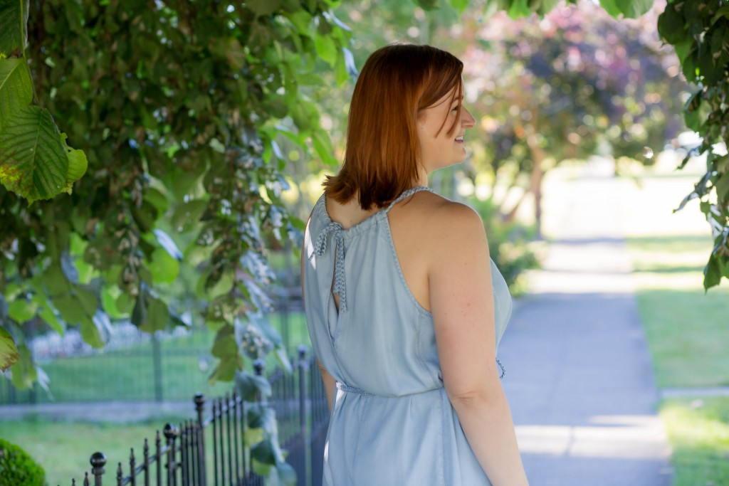 3 - chambray dress back tie detail