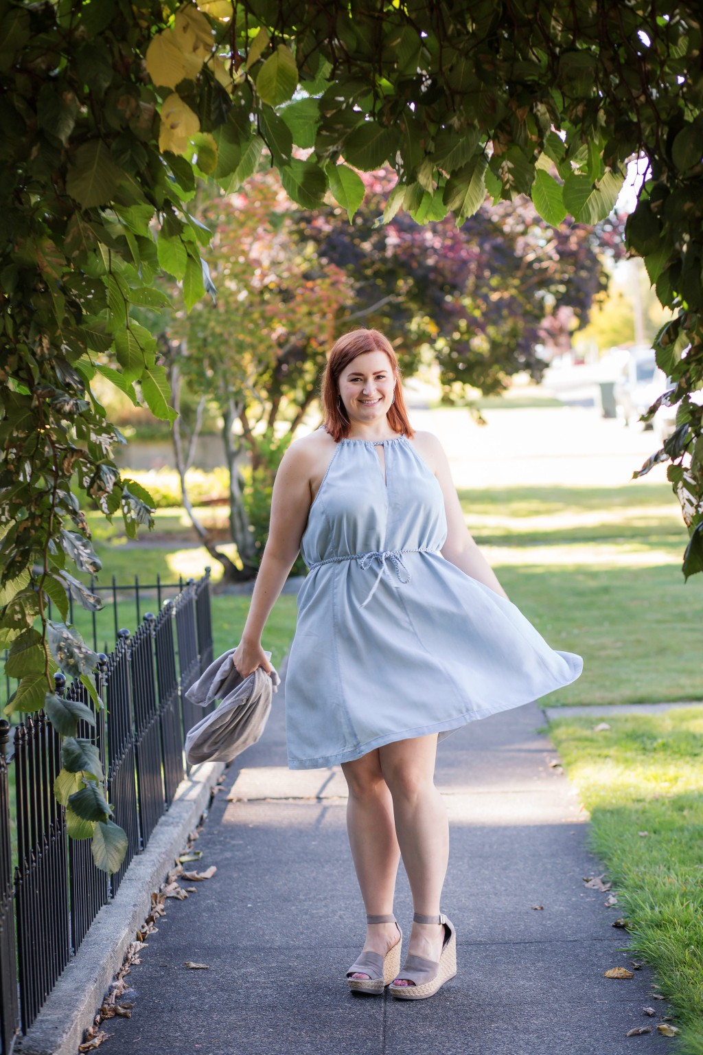 7 - twirling in a chambray dress