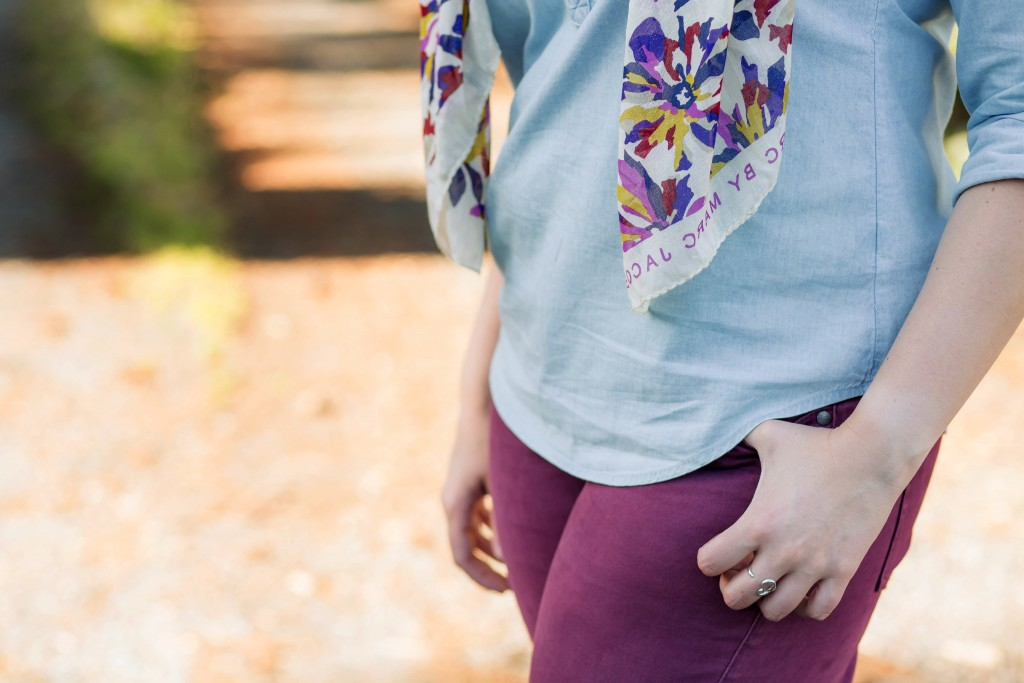 13-maroon-skinnies-chambray-top-and-floral-scarf